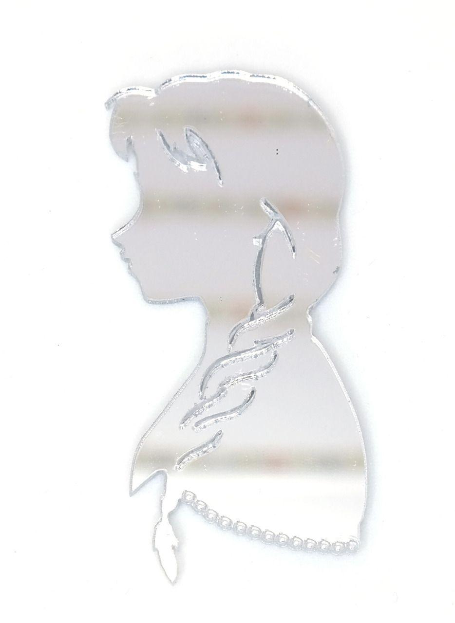Aplique em acrílico espelhado - Frozen - Anna - 6cm - 10 peças