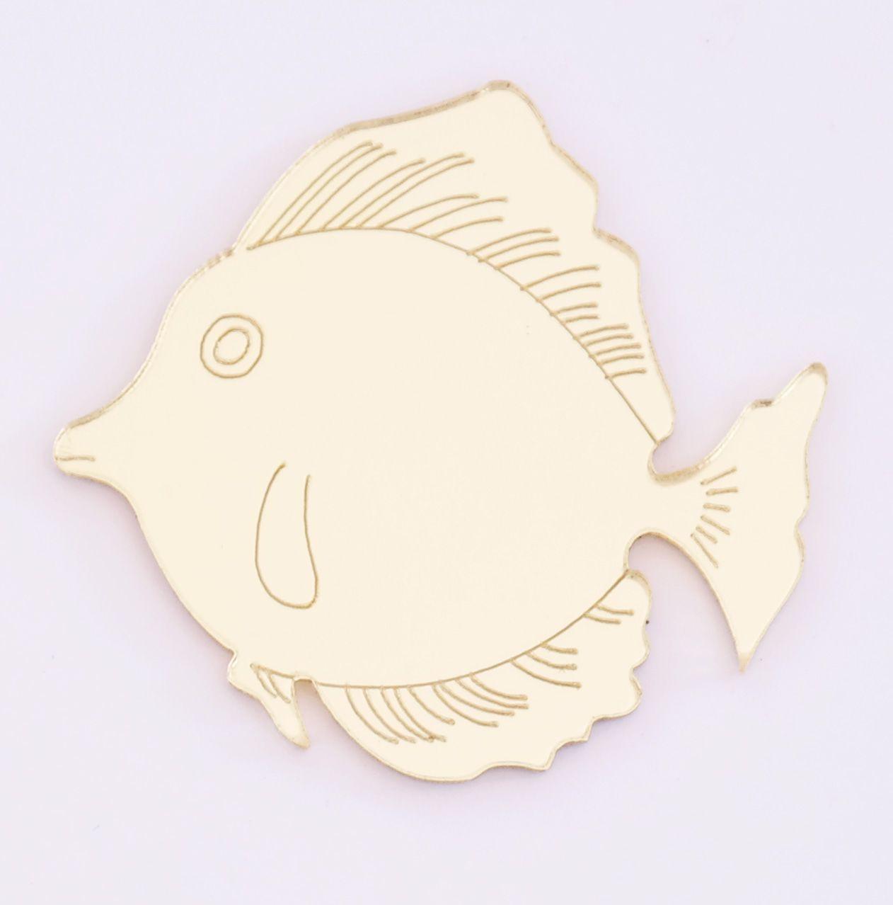 Aplique em acrílico espelhado - Fundo do Mar Peixe - 5cm - 10 peças