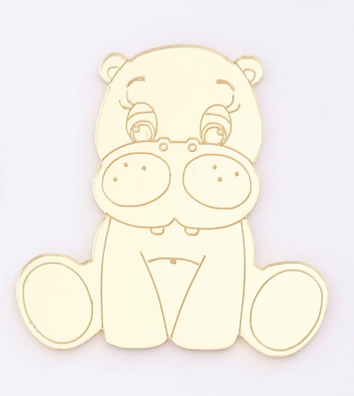 Aplique em acrílico espelhado - Hipopótamo - 5cm - 10 peças