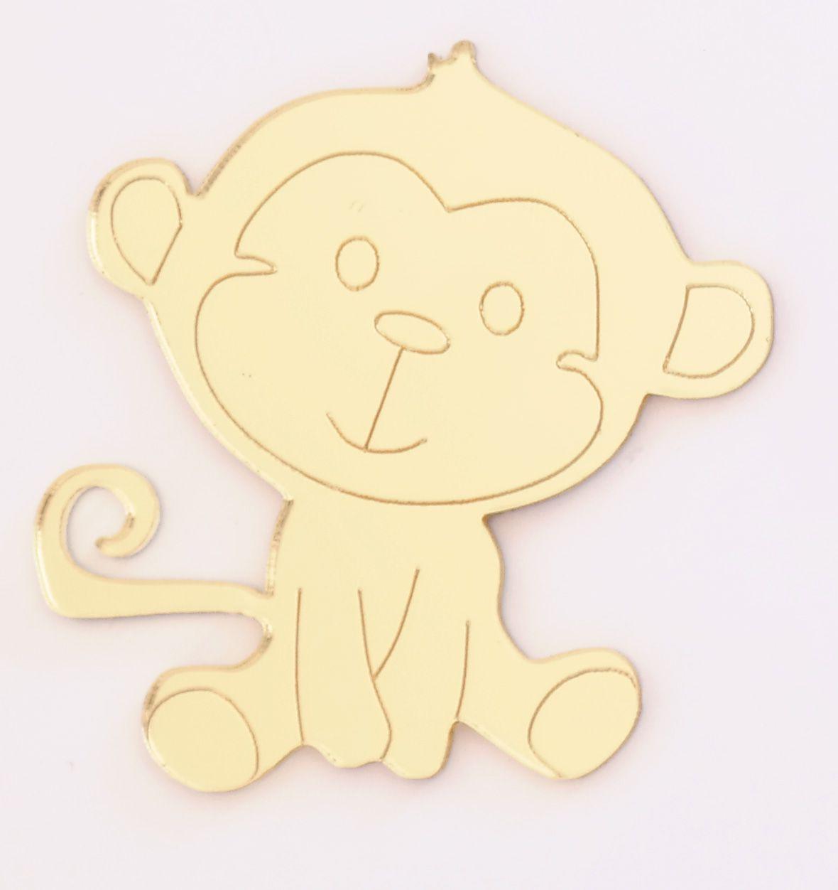 Aplique em acrílico espelhado - Macaco - 5cm - 10 peças