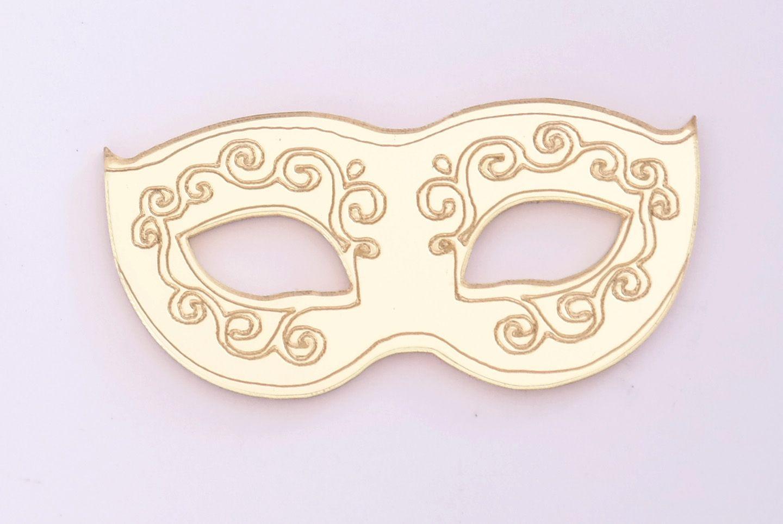 Aplique em acrílico espelhado - Máscara de Carnaval - 5cm - 10 peças