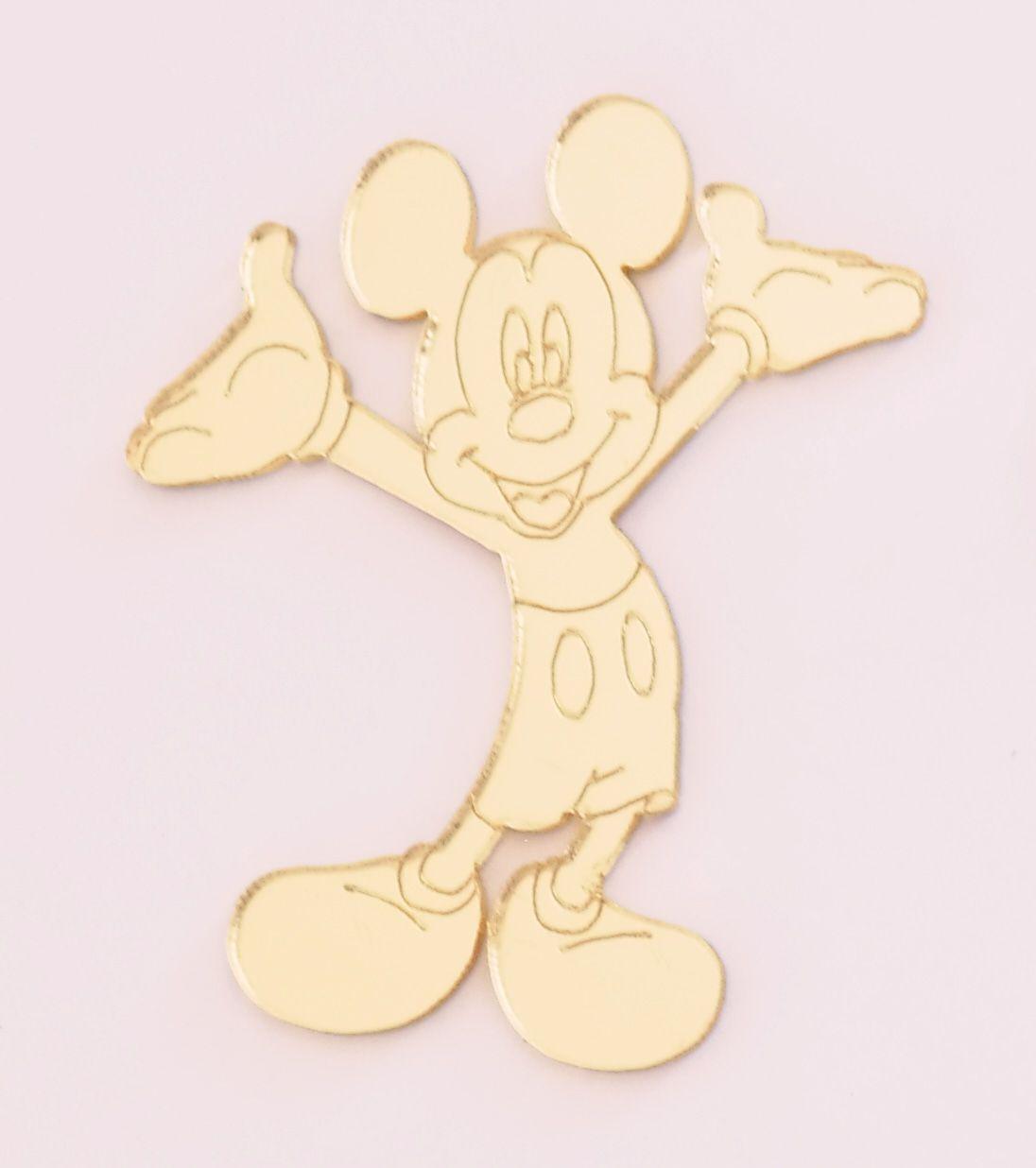 Aplique em acrílico espelhado - Mickey 01 - 7cm - 10 peças