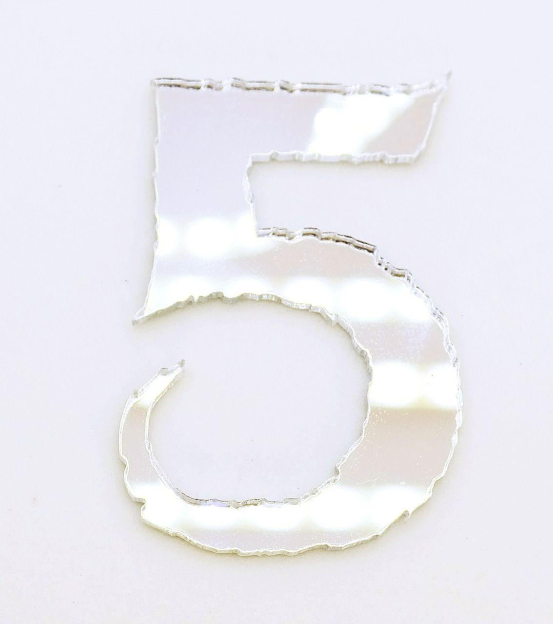 Aplique em acrílico espelhado - Números Frozen - 5cm - 10 peças