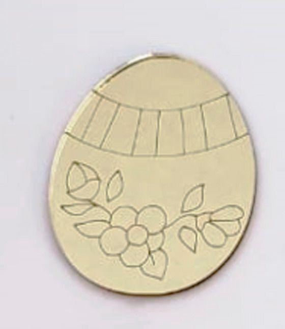 Aplique em acrílico espelhado - Ovo 01 - 7cm - 10 peças - Páscoa