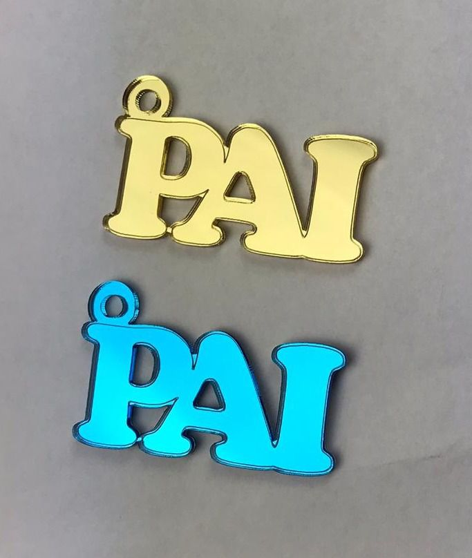 Aplique em acrílico espelhado - Pai - 5cm - 10 peças - Dia dos pais