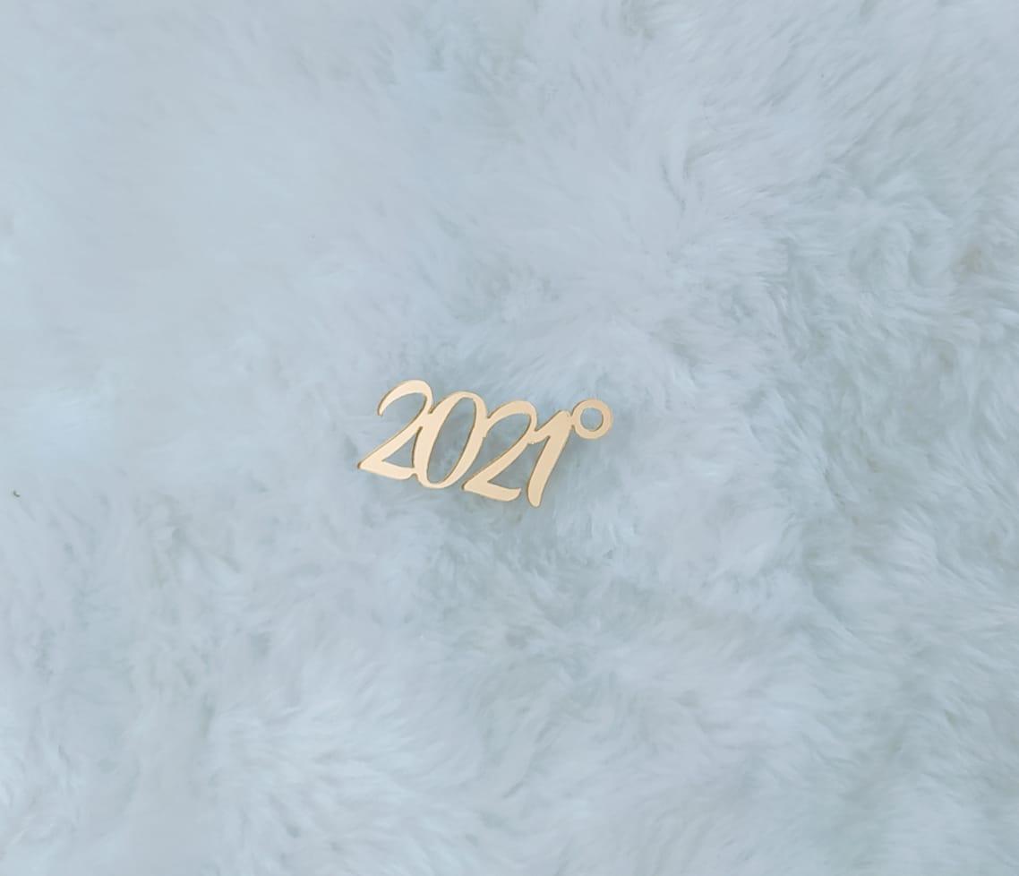 Aplique em acrílico espelhado para chaveiro - 2021 - 5cm - 10 peças - Natal