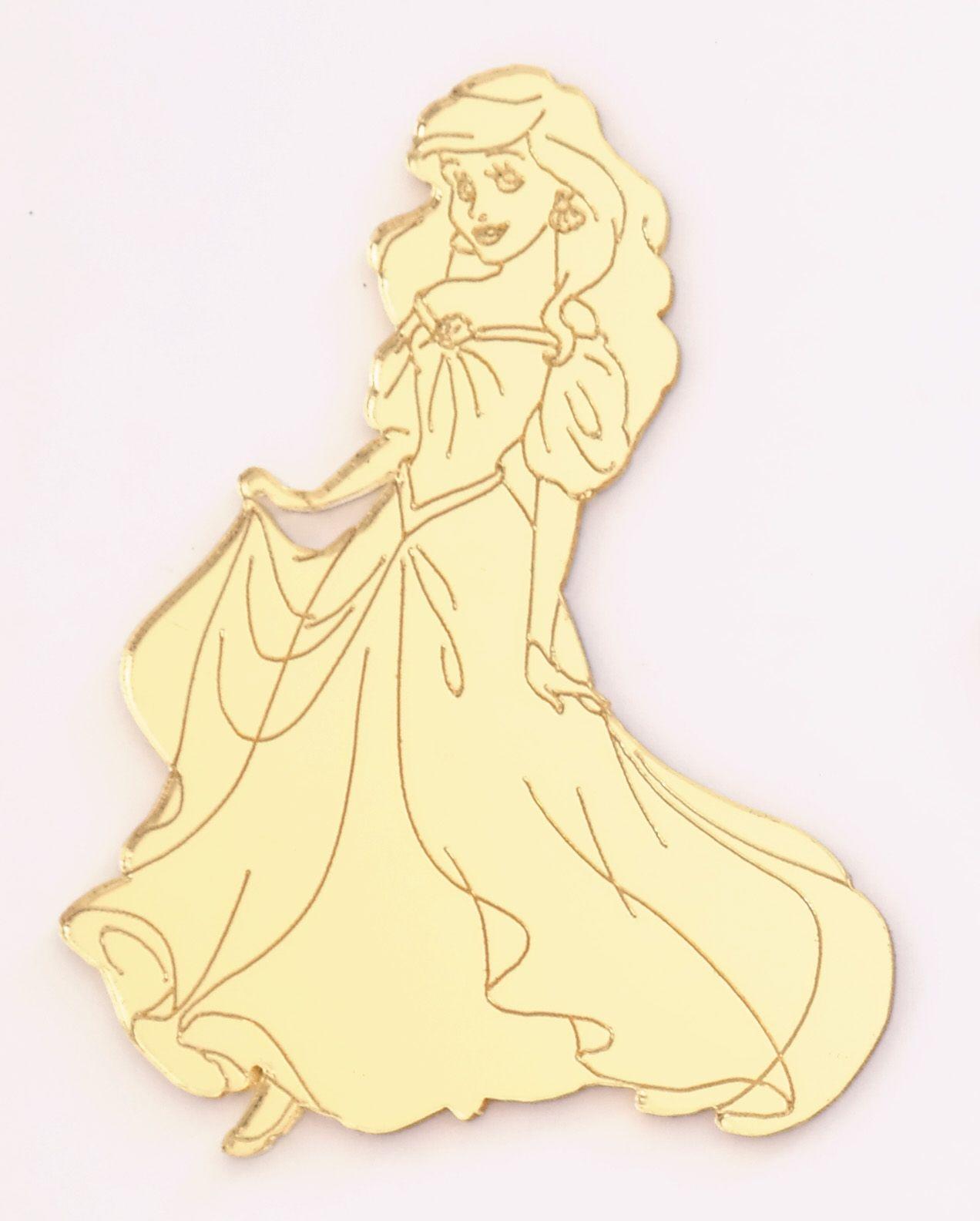 Aplique em acrílico espelhado - Princesa Ariel 01 - 7cm - 10 peças