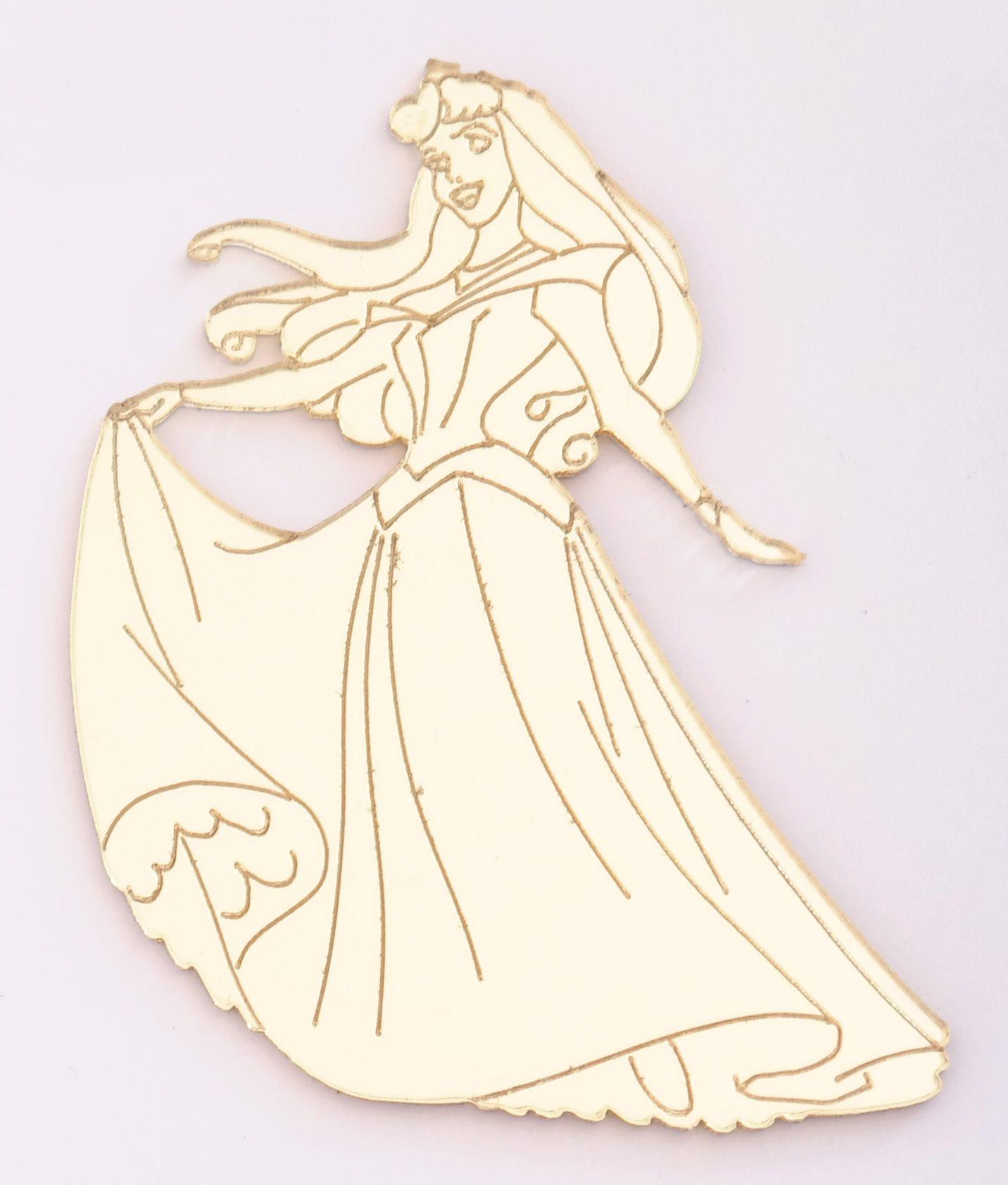 Aplique em acrílico espelhado - Princesa Aurora - 5cm - 10 peças