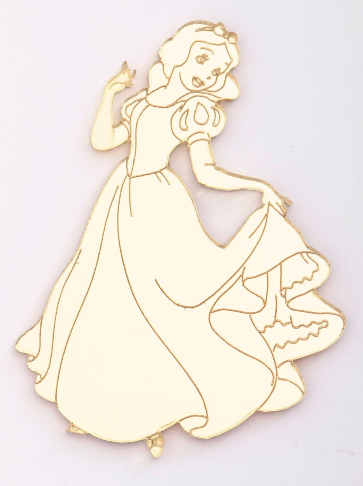 Aplique em acrílico espelhado - Princesa Branca de Neve - 7cm - 10 peças