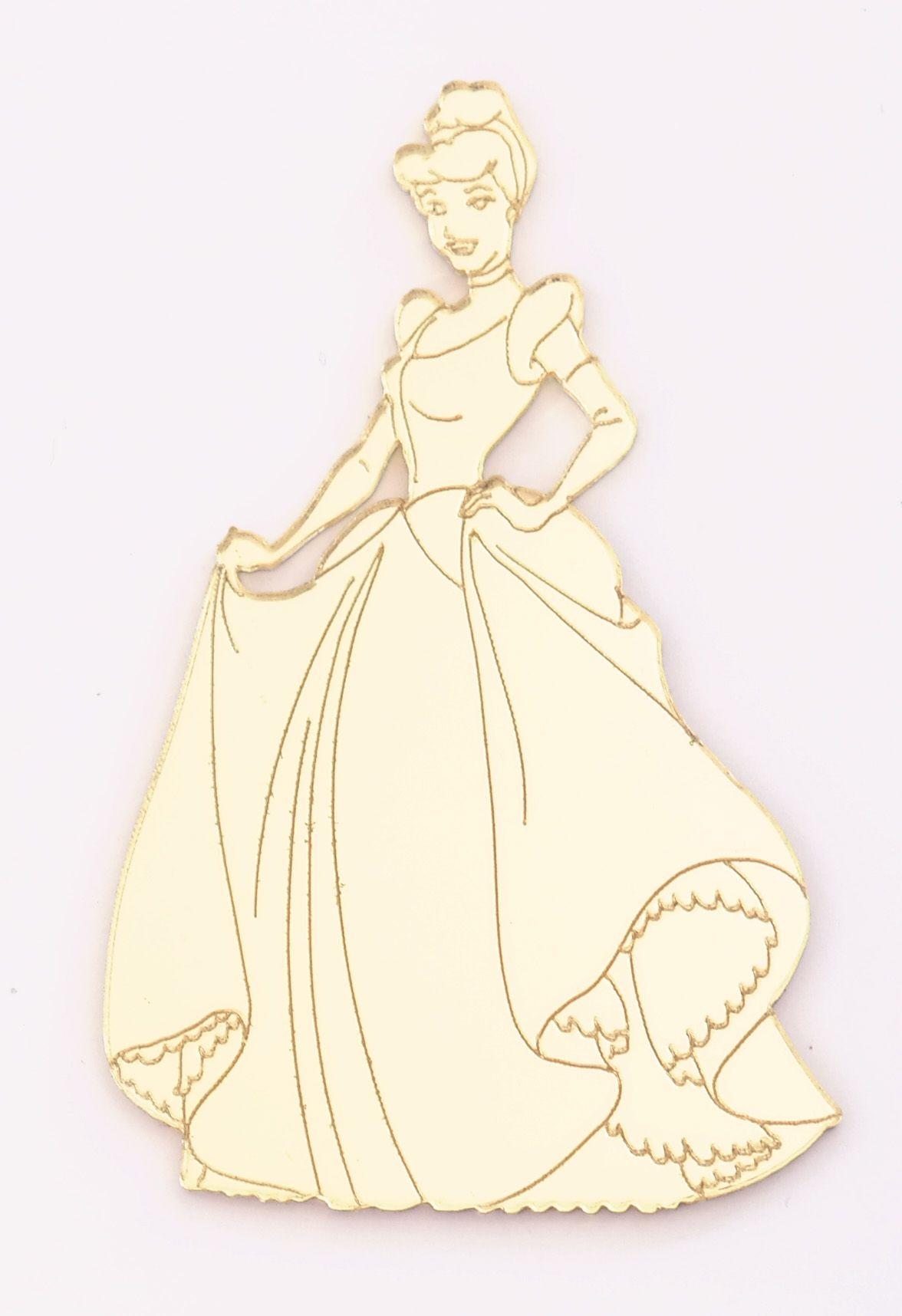 Aplique em acrílico espelhado - Princesa Cinderela - 7cm - 10 peças