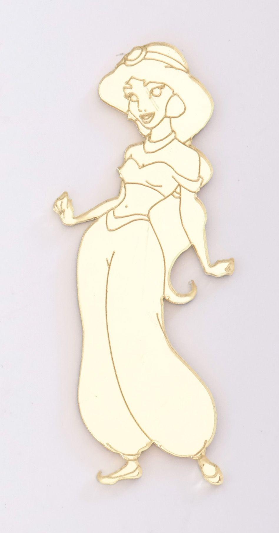 Aplique em acrílico espelhado - Princesa Jasmine - 7cm - 10 peças