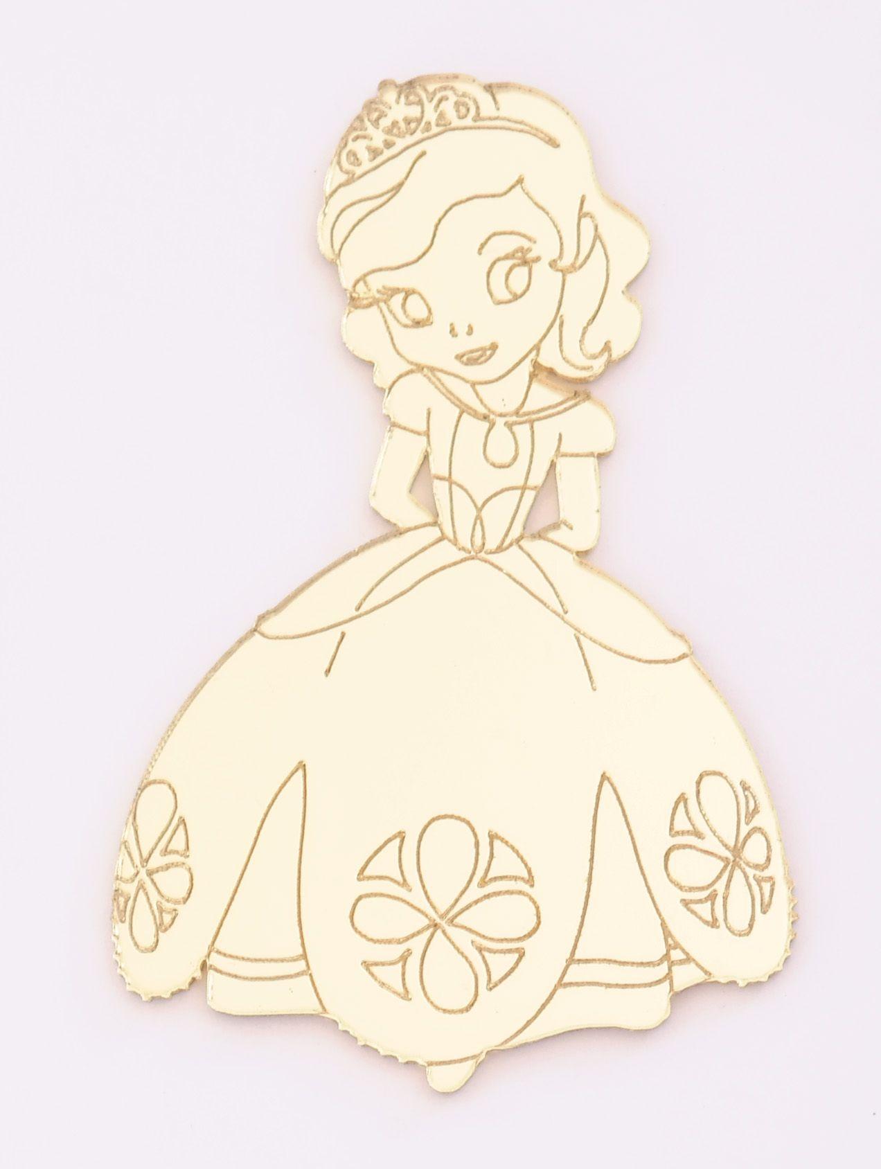 Aplique em acrílico espelhado - Princesa Sophia - 7cm - 10 peças