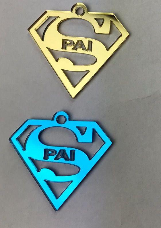 Aplique em acrílico espelhado - SUPERHOMEM PAI - 5cm - 10 peças - Dia dos pais