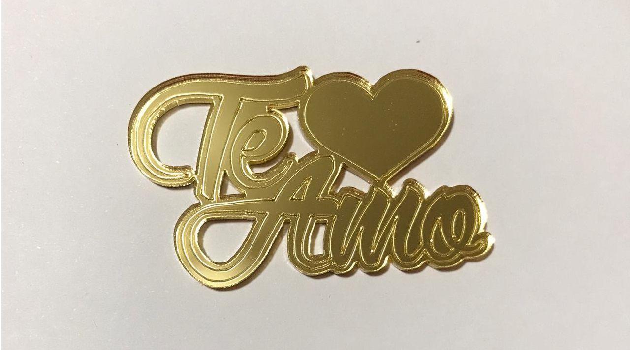 Aplique em acrílico espelhado - Te Amo - 7cm - 10 peças