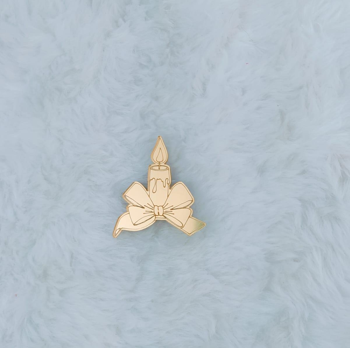 Aplique em acrílico espelhado - Vela - 5cm c/ 10 peças - Natal