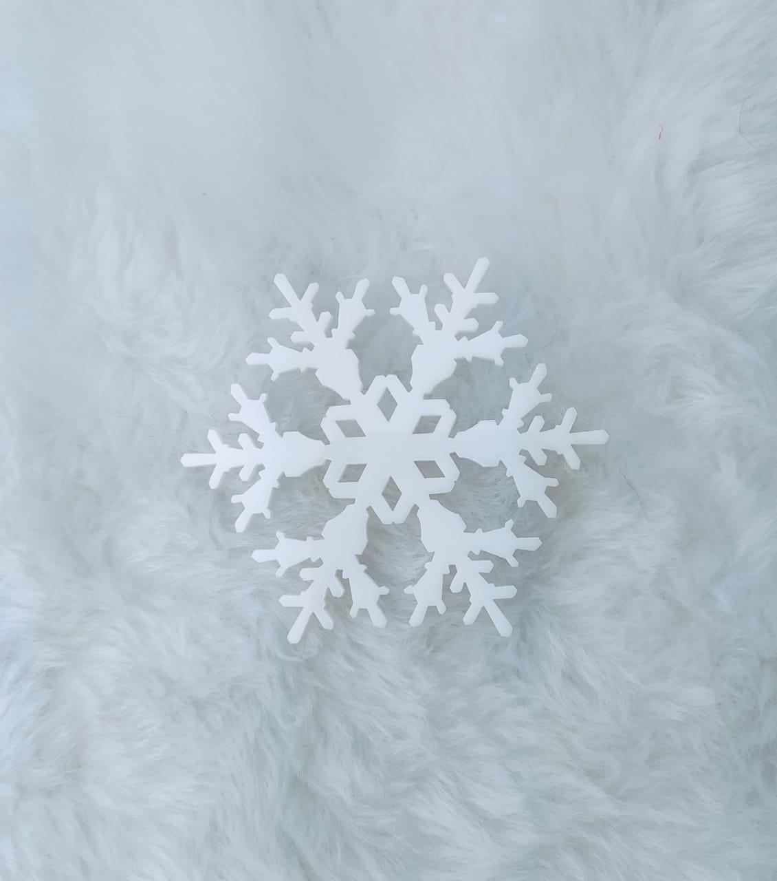Aplique em acrílico fosco - Floco de Neve 01 - 5cm - 10 peças - Natal