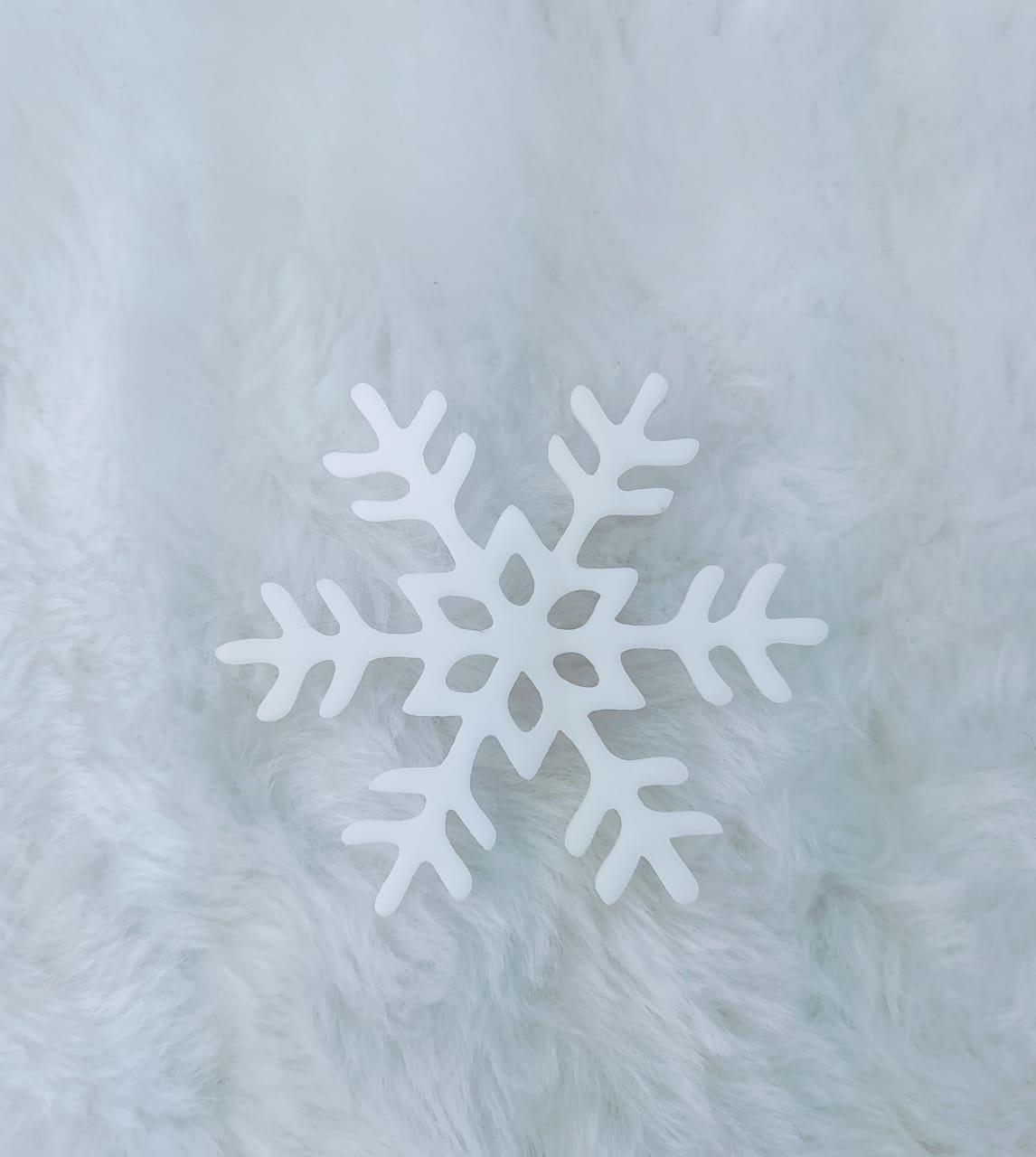 Aplique em acrílico fosco - Floco de Neve 02 - 5cm - 10 peças - Natal
