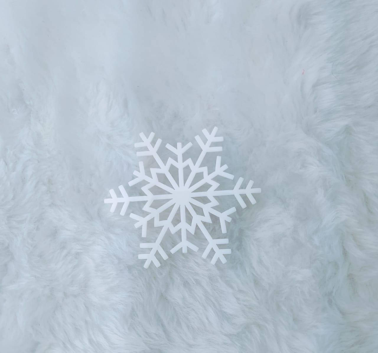 Aplique em acrílico fosco - Floco de Neve 03 - 7cm - 10 peças - Natal