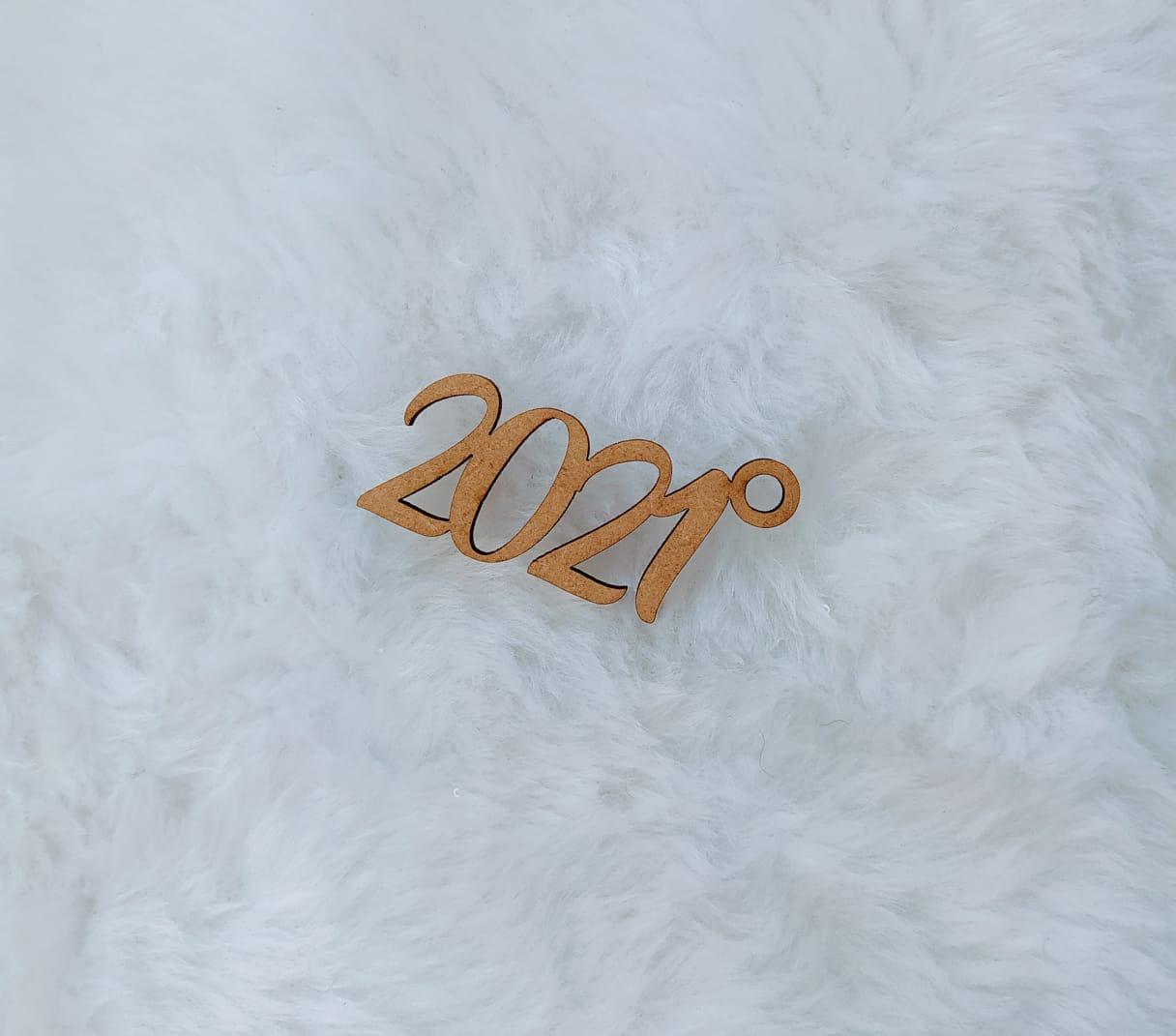 Aplique em MDF para chaveiro - 2021 - 5cm - 10 peças - Natal