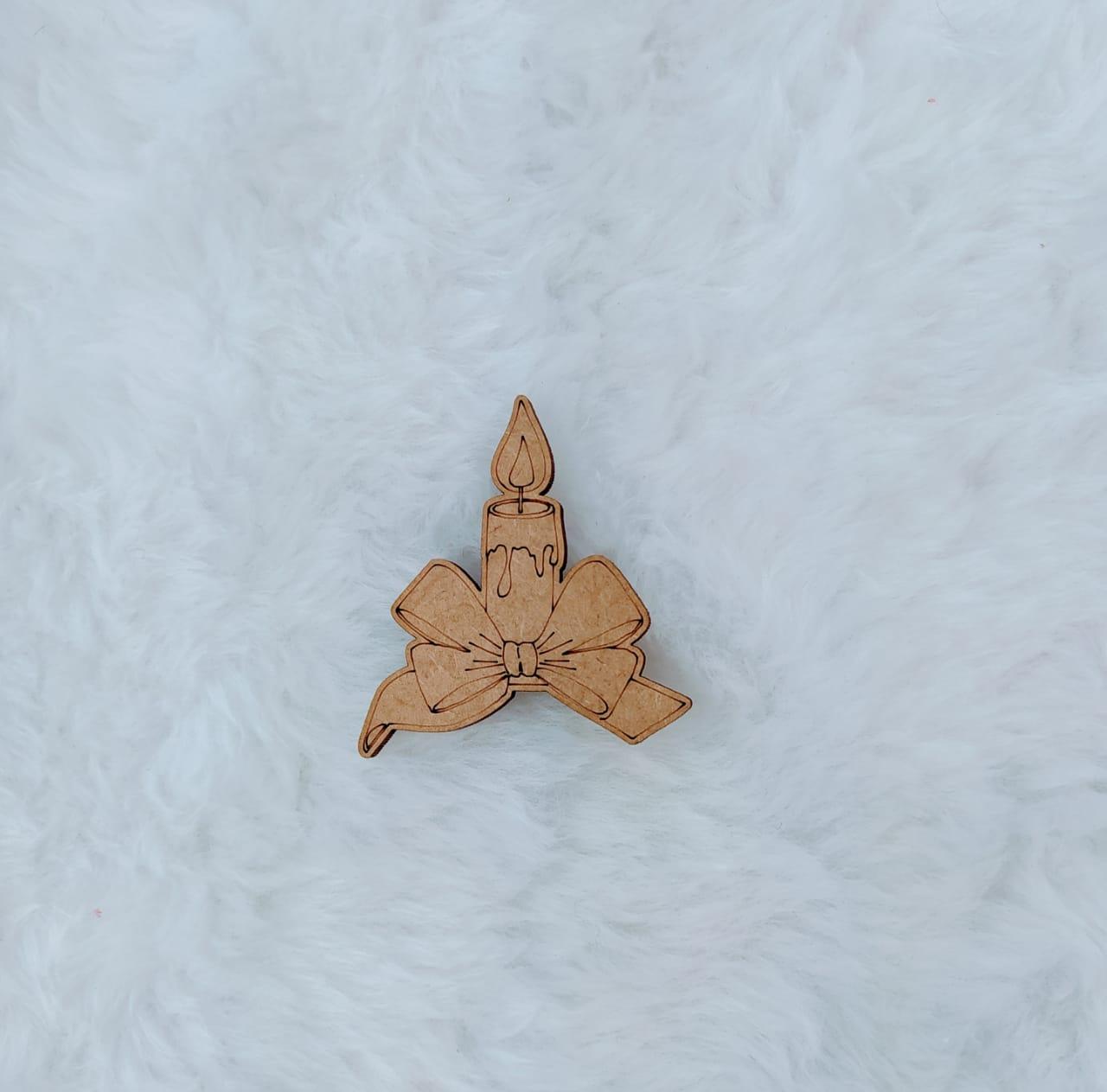 Aplique em MDF - Vela - 7cm c/ 10 peças - Natal
