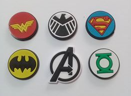 Aplique Heróis Símbolos PVC - 6 unidades