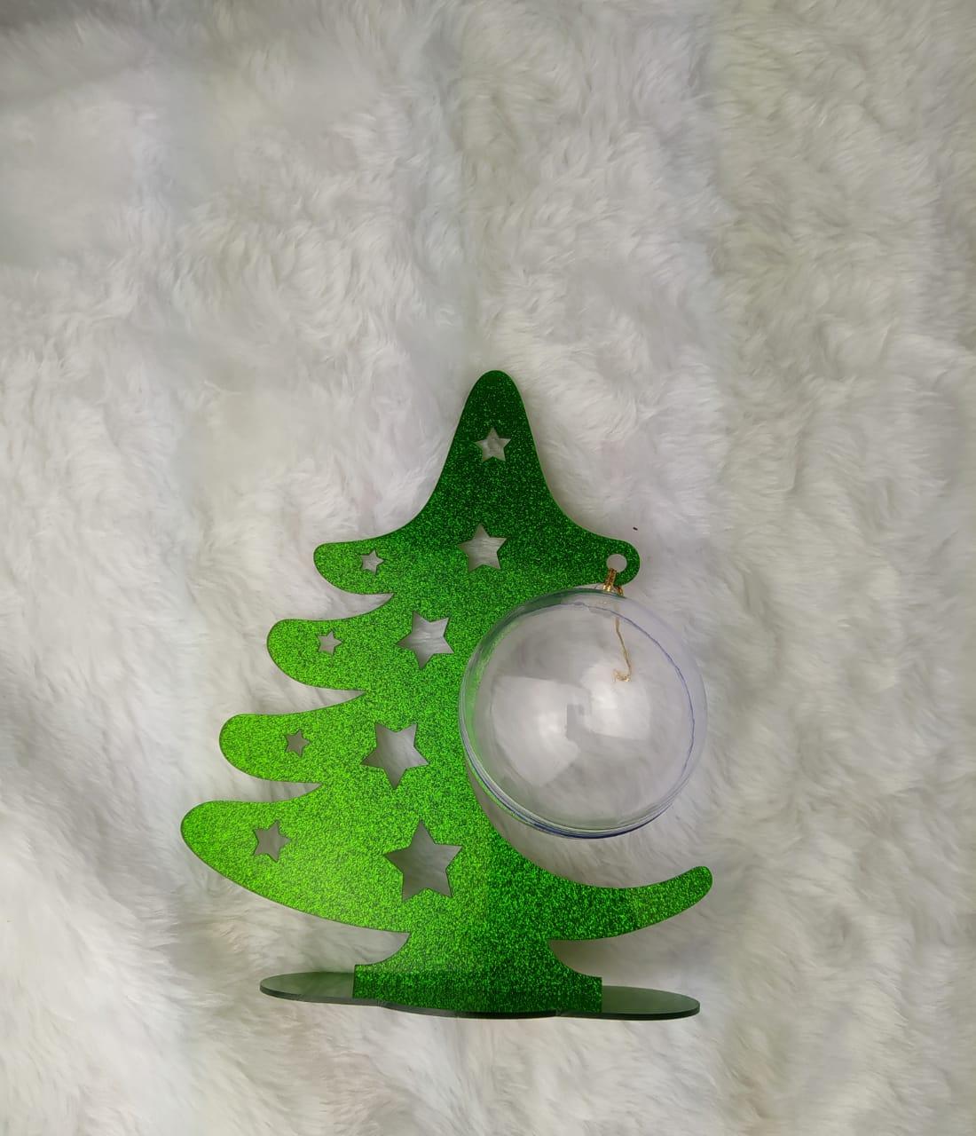 Árvore de Natal em acrílico glitter c/ bola acrílica - Natal