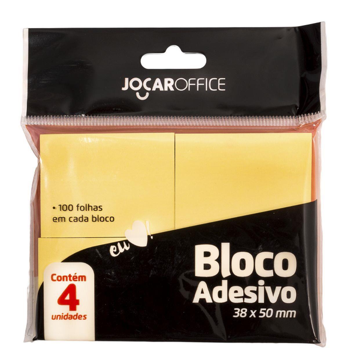Bloco de recado autoadesivo - Jocar Amarelo - 38x50mm - 4 blocos de 100 folhas - Leonora