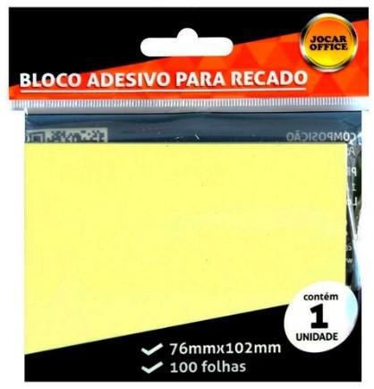 BLOCO DE RECADO AUTOADESIVO JOCAR AMARELO 76X102 c/ 100 FOLHAS - LEONORA