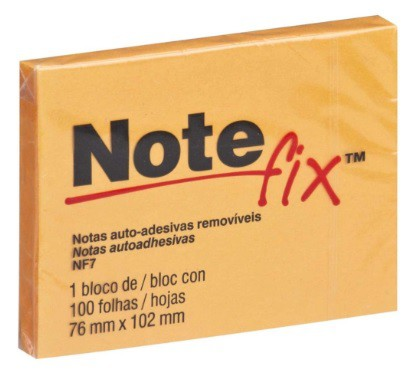 BLOCO DE RECADO AUTOADESIVO NOTEFIX C/100 FOLHAS 76MMX102MM - 3M