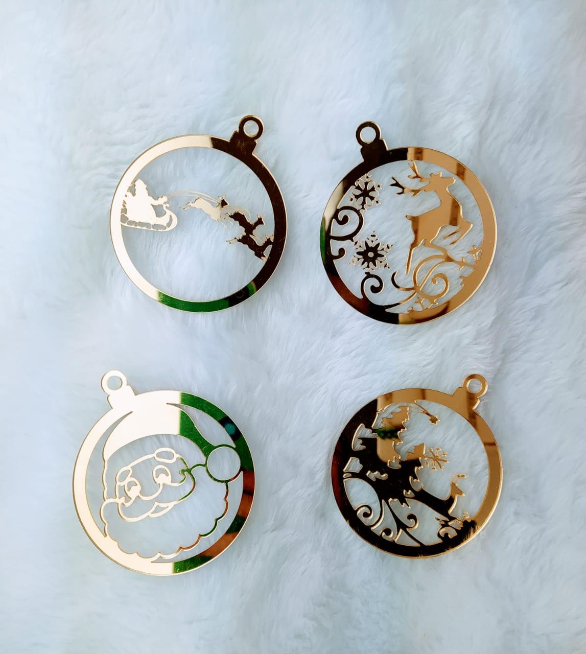 Aplique de Natal em Acrílico Espelhado c/ 4 peças- 8cm - Design By Mila Hermont