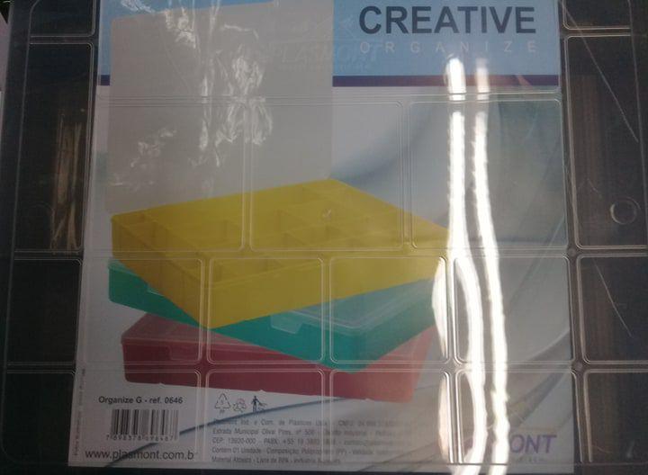 Caixa Organizador Plastico Colorida G com 20 Divisorias 34 x 27 x 5,5 cm