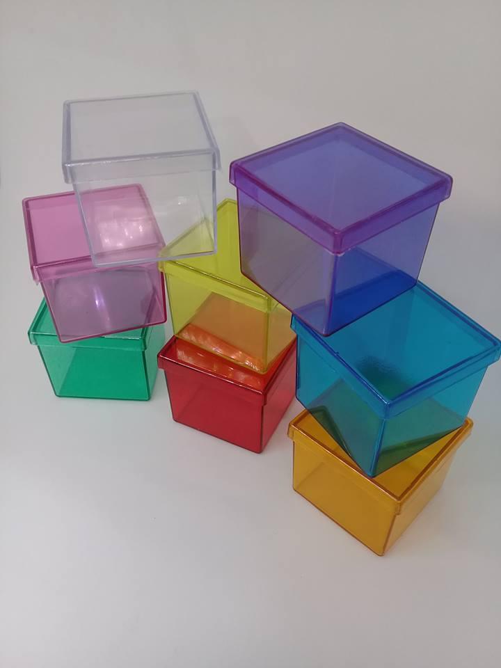 Caixinha 4x4cm transparentes com 100 unidades