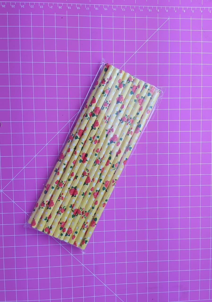 Canudo de papel florido c/ 20 unidades