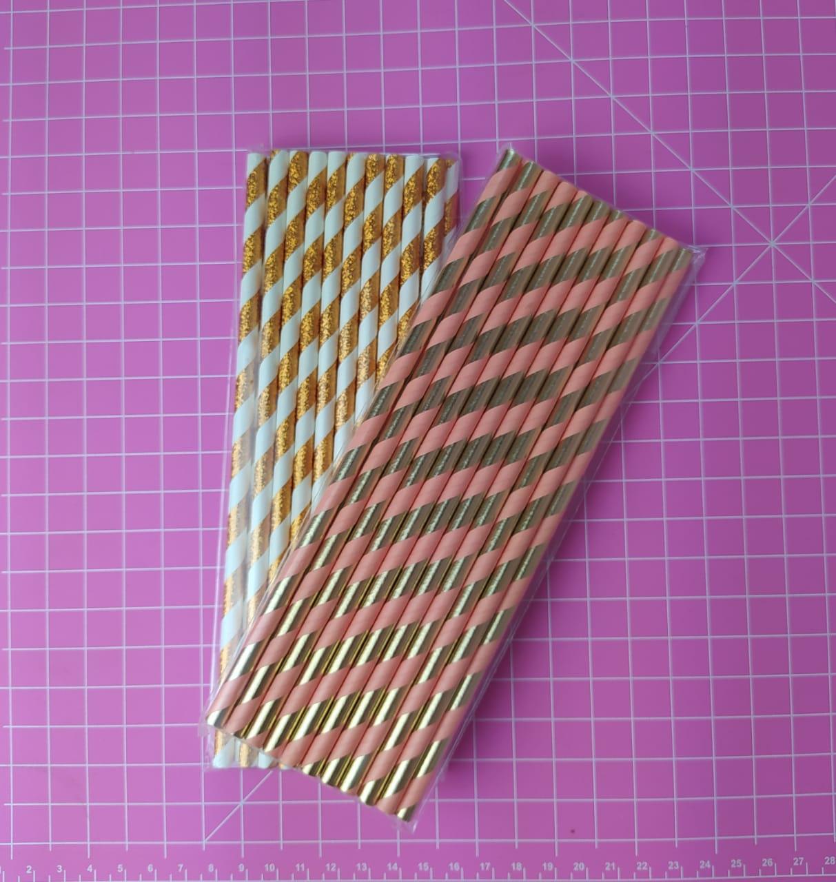 Canudo de papel listrado metalizado c/ 20unidades
