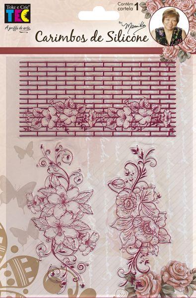 Carimbo de Silicone 14x18cm - Arranjo de Flores - By Mamiko - Toke e Crie