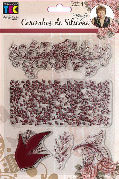 Carimbo de Silicone 14x18cm - Folhas - By Mamiko - Toke e Crie