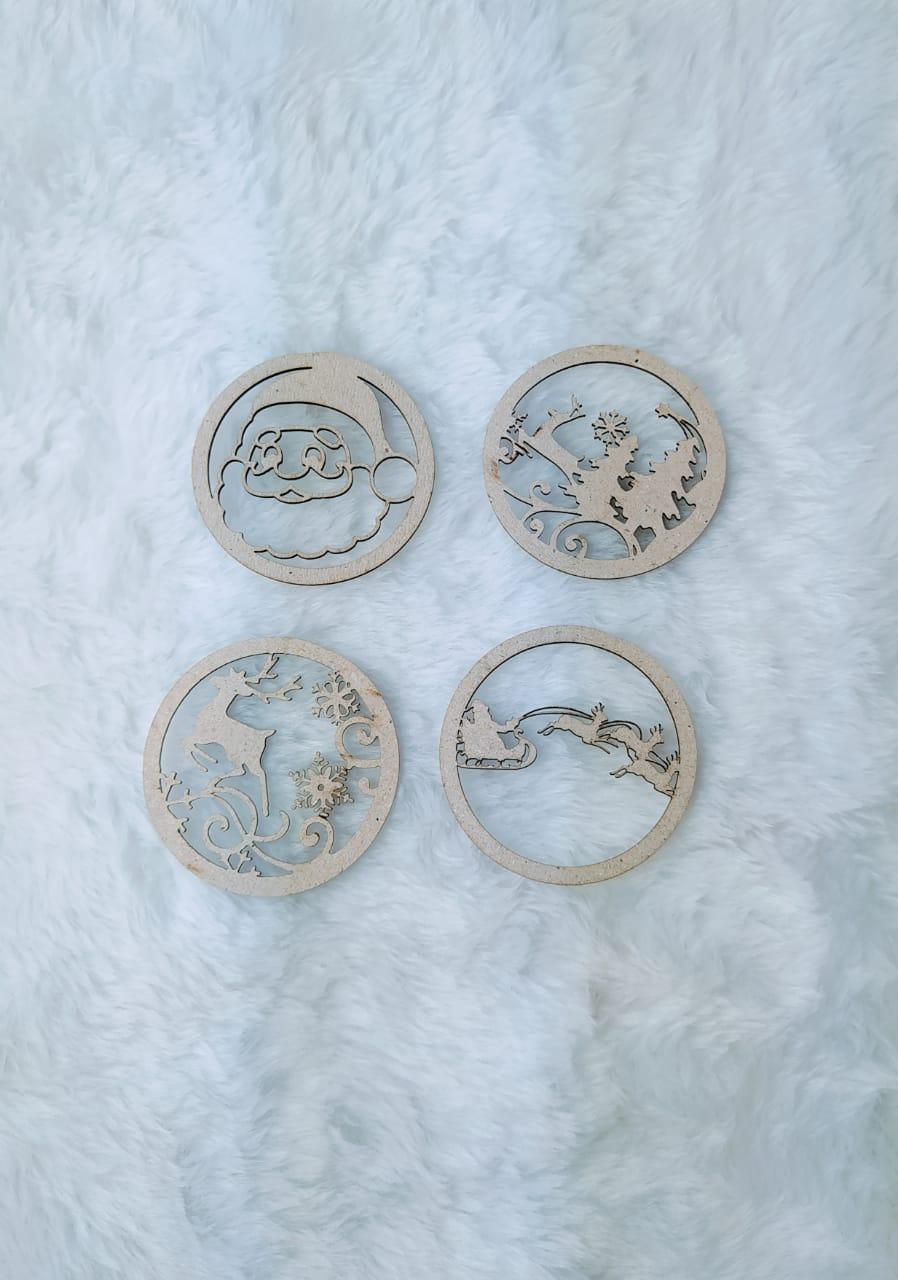 Chipboard de Natal c/ 4 peças - 7cm - Design By Mila Hermont
