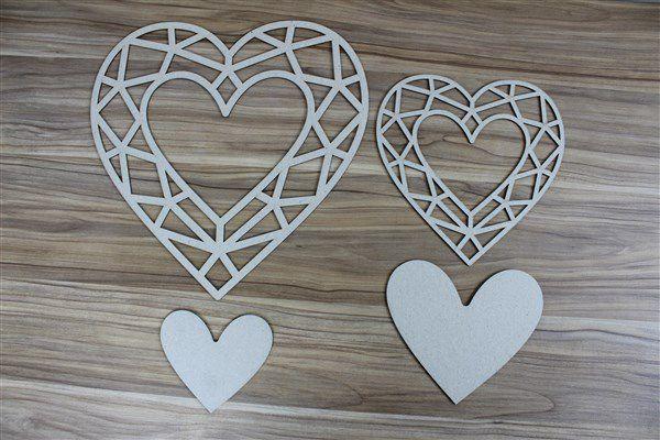 Coração 01 - Chipboard - 27x27cm e 18x18cm + 2 peças - Design by Megui