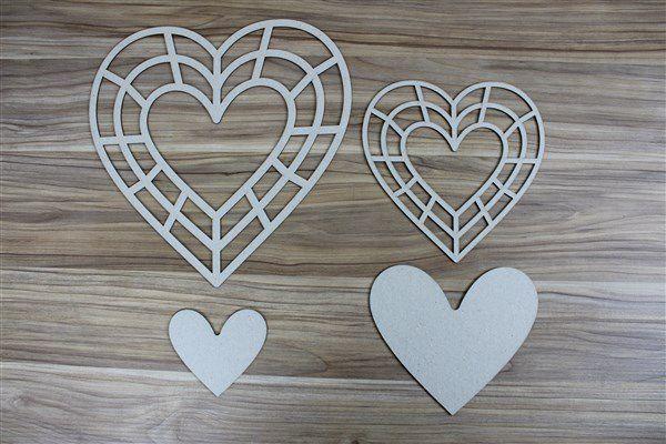 Coração 05 - Chipboard - 27x27cm e 18x18cm + 2 peças - Design by Megui