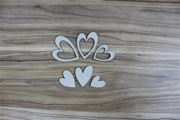 Corações vazados - Chipboard - Kit com 6 peças - Design by Megui