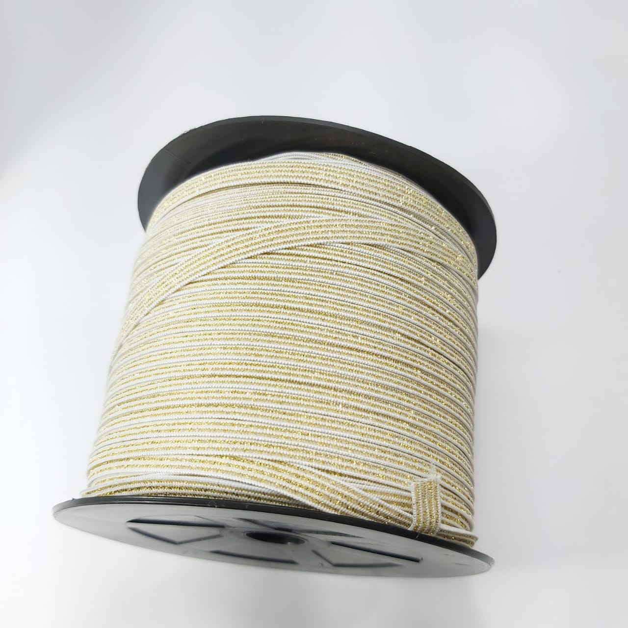 Elástico Chato com Lurex Dourado - 10 metros