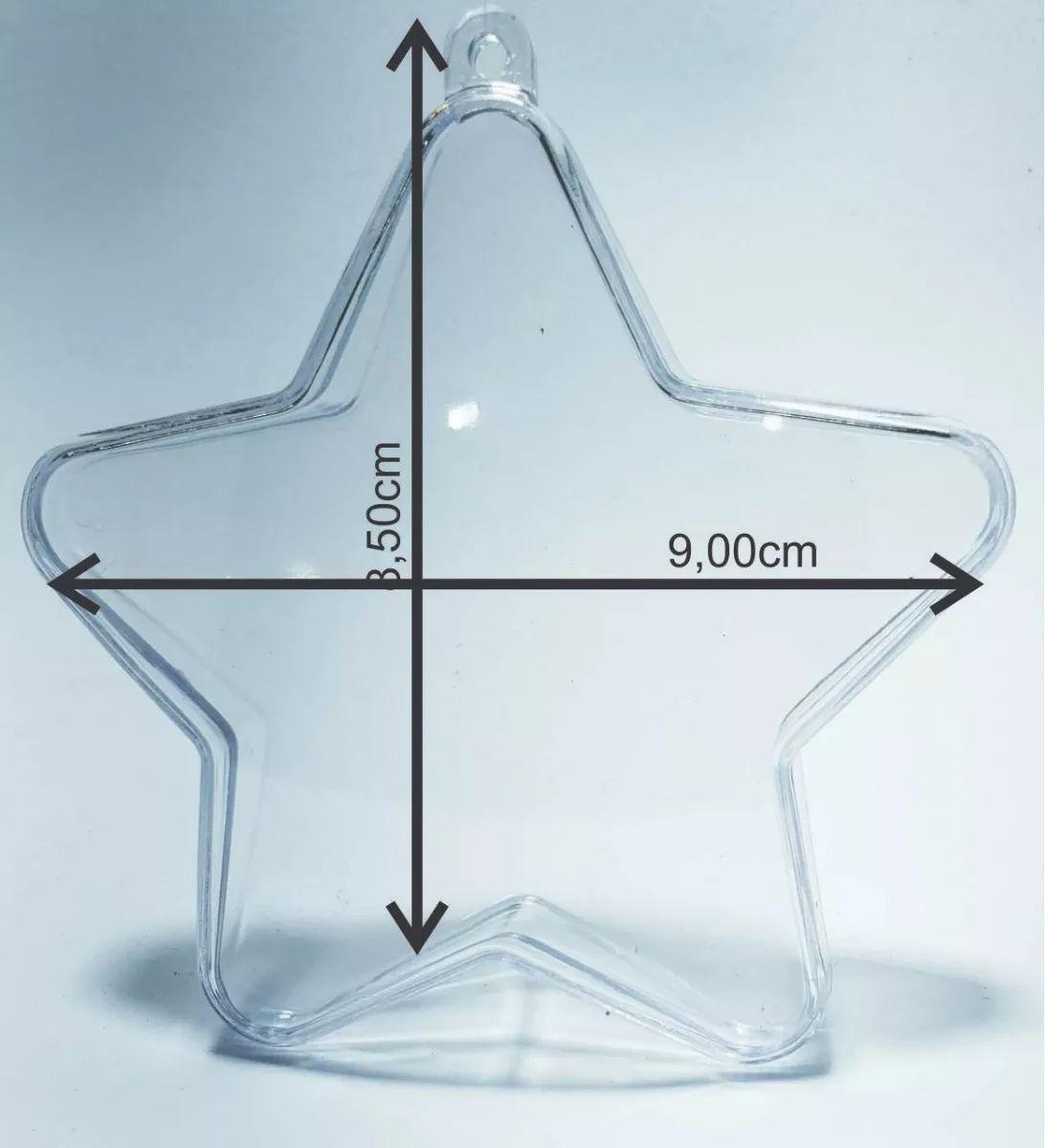 Estrela Acrílica - 9x8,5cm - c/ 50 unidades