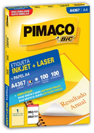 Etiqueta ink-jet/laser A4 288,5x200,0 367 Pimaco PT 100 UN