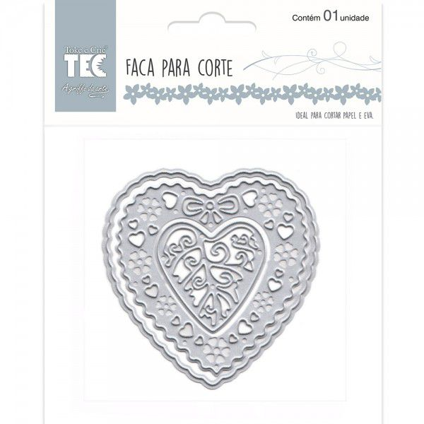 Faca Para Corte e Relevo - Média - Coração com Flores - Toke e Crie