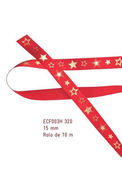 Fita Estampada Progresso Cetim 15mm - ECF003H 320 - 10 metros - Natal - Linha Celebre