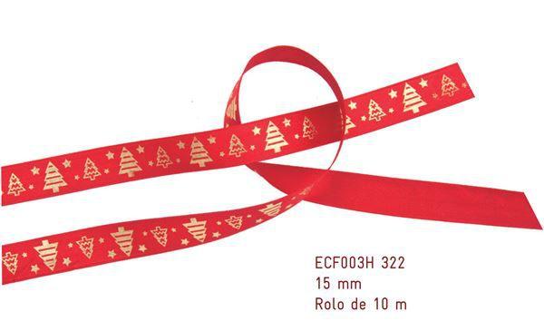 Fita Estampada Progresso Cetim 15mm - ECF003H 322 - 10 metros - Natal - Linha Celebre