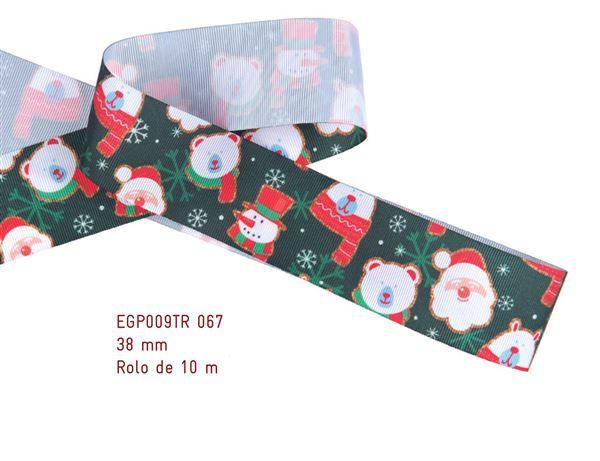 Fita Estampada Progresso Gorgurão 38mm - EGP009TR 067 - 10 metros - Natal - Linha Decore
