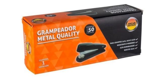GRAMPEADOR METAL JOCAR PRETO P/50 FLS 16CM 4681 - LEONORA