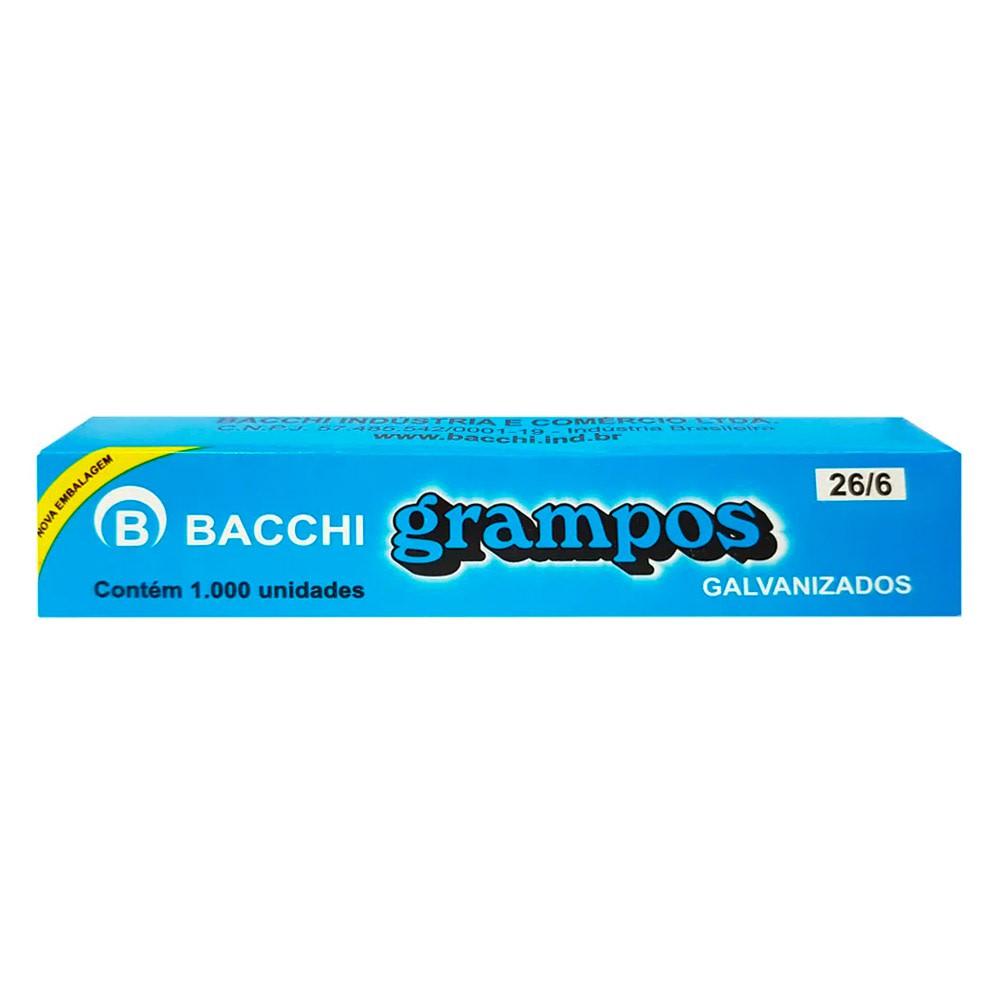 GRAMPO PARA GRAMPEADOR 26/6 GALVANIZADO 1000 GRAMPOS 21519 - BACCHI