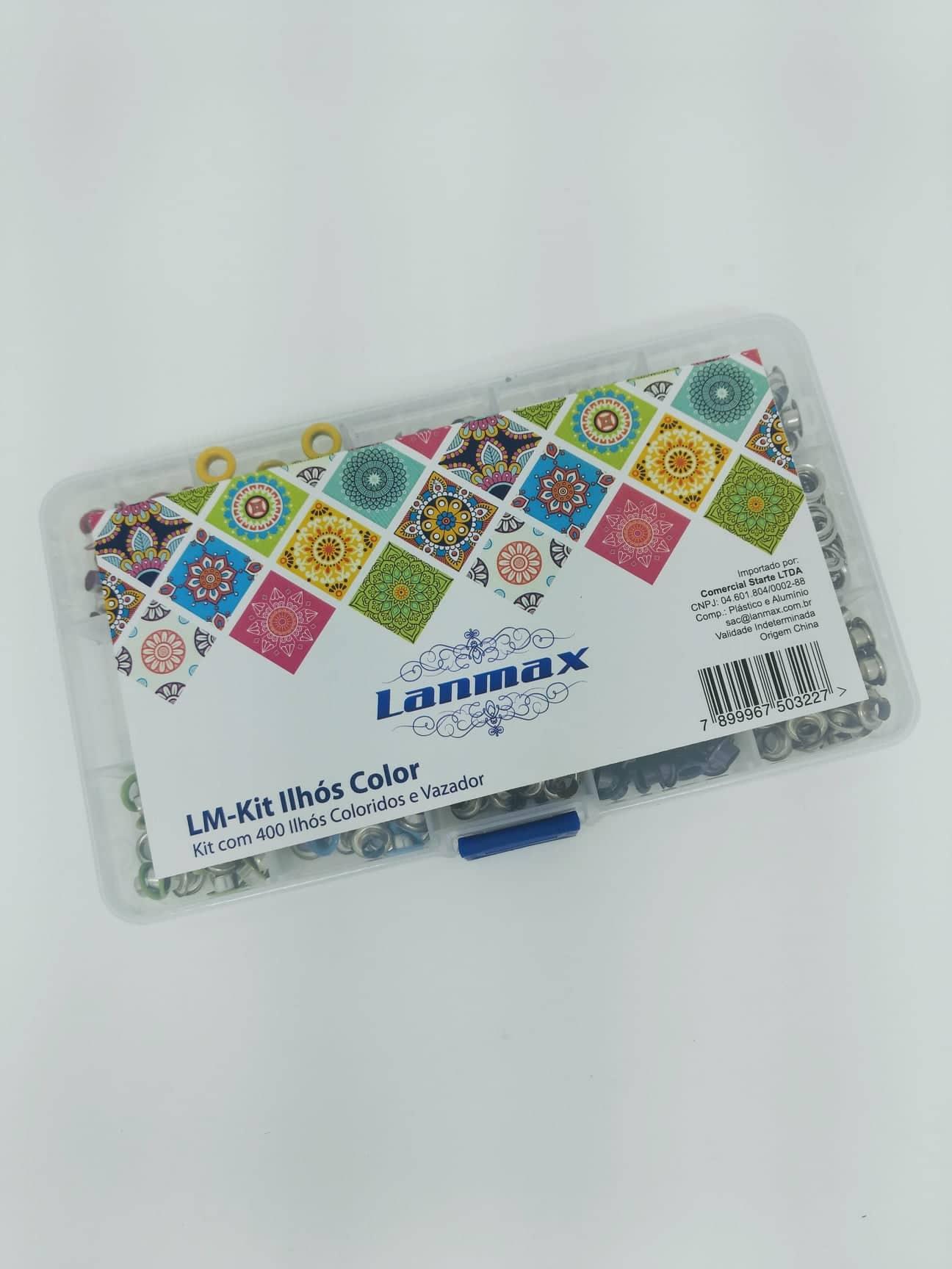 Kit com 400 ilhós coloridos e vazador - Lanmax